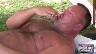 Beefy Brock Hart masturbates outdoors