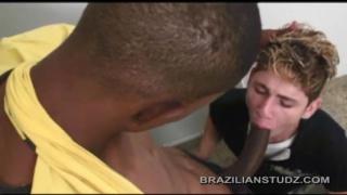 white boy servicing a large brazilian cock