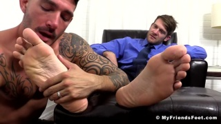 Colby Keller and Johnny Hazzard at my friends' feet