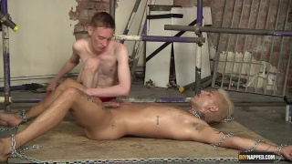 bound mickey taylor gets his nuts drained