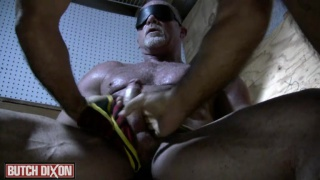 blindfolded and bound daddy get sucked off