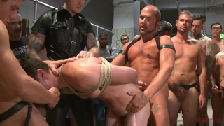 sexy stud gang banged in toilet at bound in public