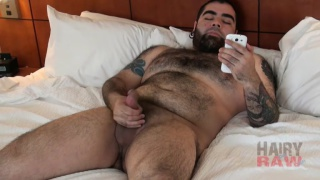 bearded cub shoots all over his hairy belly