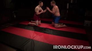 two lads wrestling at iron lockup