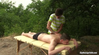Jesse Jenkins and Nathan Dale at gay massage table