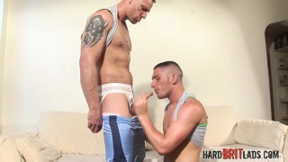 Tattooed devin reynolds wanking off his big strong dick