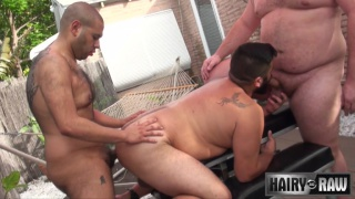 Lanz Adams, Gunner Scott and Renzo Marquez at hairy and raw