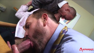 Suited Threesome at alpha males