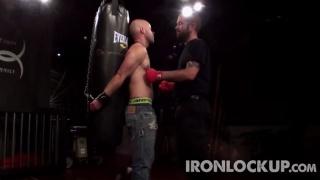 sir ties his slave to punching bad at iron lockup
