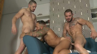 Sergi Lopez, Coby Banx & Karl Lion at kristen bjorn