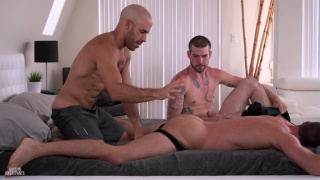 Austin Wilde, Brendan Phillips and Buck Richards at Guys in Sweatpants