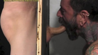 ace's glory hole blowjob at straight fraternity