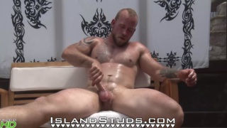 bearded muscle guy Baker at Island Studs