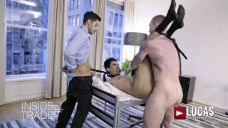 DYLAN JAMES AND DRAE AXTELL DOUBLE TEAM LEE SANTINO at Lucas Entertainment