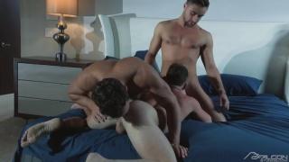 threeway sex with Brent Corrigan, Logan Moore & Samuel Stone at FALCON