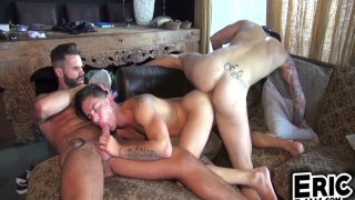 dani robles and angel cruz in threeway action at Dark Alley