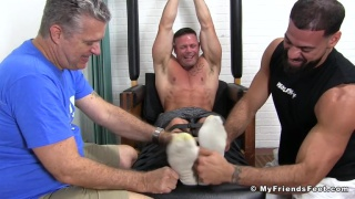 Joey J tickled by two men at My Friends Feet