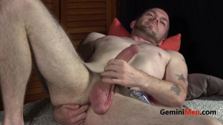 Drake Hollister plays with sex toys at GeminiMen