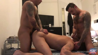 Lovers Chris Meyers and Seth Knight fuck a guy at Hot Boy USA