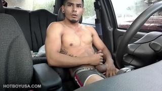 car jack-off with Damian Fox at Hot Boy USA