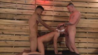 Damian Ryder and Liam Burlington fuck blindfolded bottom at Young Bastards