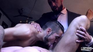 threeway sex with DANTE COLLE, LOGAN MOORE & MASSIMO PIANO at Men at Play