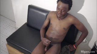 african guy Jackson jerking off at 80 Gays