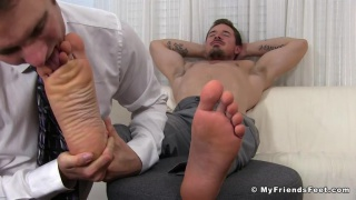 Tyler S in foot worshiping at My Friends Feet