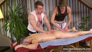 threeway massage fuck with Justin White, Tommy Poulain and Gordon Grant in Twinks in Shorts