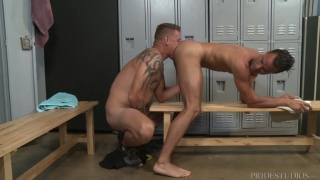 locker room sex with Jace Chambers & Javier Cruz at Extra Big Dicks
