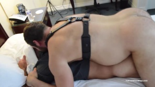 Topher Phoenix and MuscleBull tag-team fuck an anon muscle bear at Topher Phoenix